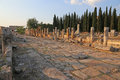 Hierapolis thoroughfare site shot at dusk it was an ancient greek city located on the hot springs in modern day pamukkale turkey Stock Photo