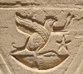 Hieroglyphic carving in an Egyptian temple wall Stock Images