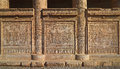 Hieroglyphic carvings on the exterior walls of an ancient egyptian temple Royalty Free Stock Photo