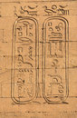 Hieroglyphs in the edfu temple in egypt Stock Image
