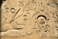 Hieroglyphs in the temple of karnak in luxor egypt Stock Photo
