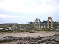 The hieropolis is a roman era city outside of pamukkale turkey many ancient ruins from the town are in the area including the Royalty Free Stock Photography