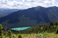 High above the wilderness lake this image of beautiful turquoise was taken from stanton ridge in great bear of montana Stock Photo