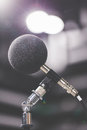 High accuracy microphone in noise sound testing room with led light bokeh high technology microphone for noise recorder selective Stock Photo