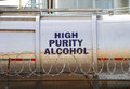 High alcohol purity tank and security measures in an industrial area Stock Image