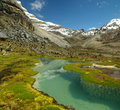 High altitude lake and mountains of the Andes Royalty Free Stock Photos