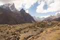 High altitude landscape dry mountain nepal Stock Images