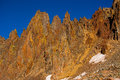 High altitude rocky mountain spires amazing along the ridgeline of mount sneffels peaks over the extreme terrain of the rugged Stock Image