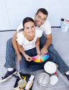 High angle of couple chosing colours Stock Photo