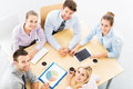 High angle portrait of business people at table meeting view Stock Photo
