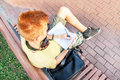 High angle portrait of a left-handed red-head teen boy. Royalty Free Stock Photo