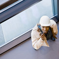 High angle view of African construction worker Stock Photo