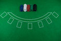 High angle view of chips on blackjack table Royalty Free Stock Photo