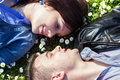High angle view of a couple in love close up happy young lying on grass Royalty Free Stock Photography