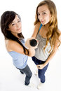 High angle view of girls holding microphone Royalty Free Stock Images