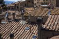 High angle view of houses in a town volterra province pisa tuscany italy Royalty Free Stock Photos