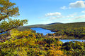 High angle view lake fanny hooe upper penninsula michigan lake located keweenaw peninsula view famous brockway mountain drive Royalty Free Stock Images