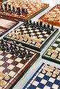 High angle view large amount homemade chess boards displayed sale table mauerpark sunday flea market Royalty Free Stock Photo