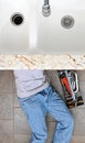 High angle view of a plumber laying under a kitchen sink man is unrecognizable with a tool box next to him Royalty Free Stock Images