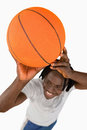 High angle view of smiling basketball player Stock Photography