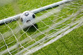 High angle view of soccer ball in goal post Royalty Free Stock Photo