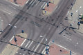 High angle view of a street intersection an empty with cross walk markings traffic signal lights Stock Photo