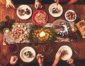 High angle view of table served for Christmas family dinner. Tab Royalty Free Stock Photo