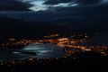 High angle view town osoyoos osoyoos lake night south okanagan popular vacation destination british columbia canada Royalty Free Stock Photo