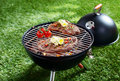 High angle view two succulent steaks cooking barbecue over hot coals green lawn outdoors Stock Image
