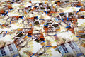 High angle view very large amount nis new israeli shekel money notes spreaded messy manner Stock Image
