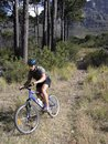 High angle view of a young man mountain biking Royalty Free Stock Photography