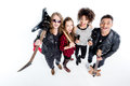 High angle view of young rock and roll band standing with microphone Royalty Free Stock Photo