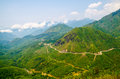 High angle winding road in mountain at sapa vietnam Royalty Free Stock Photography
