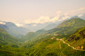 High angle winding road in mountain at sapa vietnam Royalty Free Stock Images