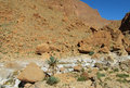 High Atlas desert rock mountains and dry river Royalty Free Stock Photo