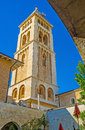 The high bell tower of the lutheran kirche jerusalem israel february view on huge from courtyard redeemer on february in Royalty Free Stock Images