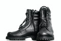 The high black leather boots Royalty Free Stock Photography