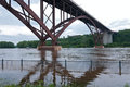 High bridge and mississippi river of saint paul flooded in minnesota Royalty Free Stock Photos