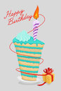 High cake birthday with candle. piece of cake on a plate. Gift Royalty Free Stock Photo