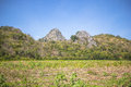 High calcite mountain view near the village in thailand Royalty Free Stock Photo