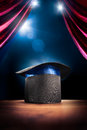 High contrast image of magician hat on a stage Royalty Free Stock Photo