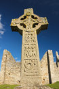 High cross of the scriptures clonmacnoise ireland south ix century in medieval monastery Stock Photos
