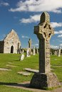 High Crosses and temple. Clonmacnoise. Ireland Royalty Free Stock Photo