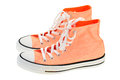 High cut canvas shoes orange color Stock Photo