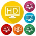High definition television symbol, HDTV icons set with long shadow Royalty Free Stock Photo