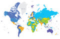 High detail color world map Capital and big cities. Vector