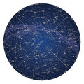 High detailed sky map of Northern hemisphere with names of stars Royalty Free Stock Photo