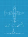 High detailed vector illustration old military airplane top front side view Royalty Free Stock Images