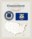 High detailed vector set with flag, coat of arms Connecticut. American poster. Greeting card Royalty Free Stock Photo