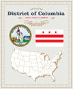 High detailed vector set with flag, coat of arms District of Columbia. American poster. Greeting card